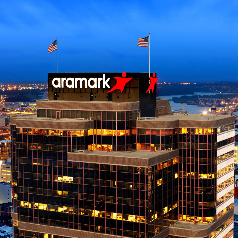 Aramark headquarters with new logo